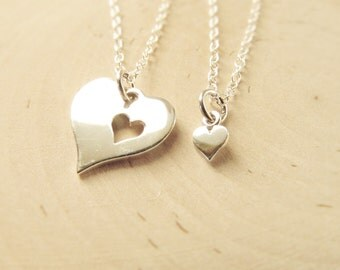 Mother Daughter Necklace Set of 2, Sterling Silver Heart Necklaces, Mom and Daughter Jewelry, Piece Of My Heart, Gift for Mom from Daughter
