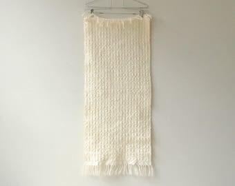 Vintage Handwoven White Table Runner