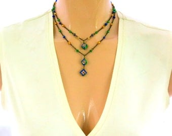 Gold, Red, Blue, Double, Layered, Two-Tiered, Cloisonne Necklace