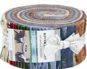 """River Journey Jelly Roll by Holly Taylor for Moda Fabrics 6680JR 40 2.5"""" x 42"""" Fabric Strips"""
