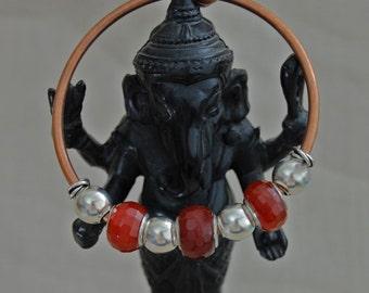 Lara - One size fits all copper cuff bracelet bangel with Carnelian beads, sterling silver beads, giftfor her, fashion,bangle bracelet,women