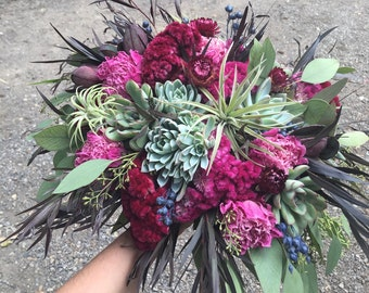 Wedding flowers, succulents with dried flowers, burgundy peonies, celosia. Organic and bohemian.