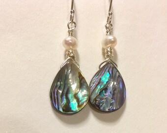 Abalone and Pearl Earrings, Shell Earrings, Beach Jewelry, Sterling Silver, Short earrings