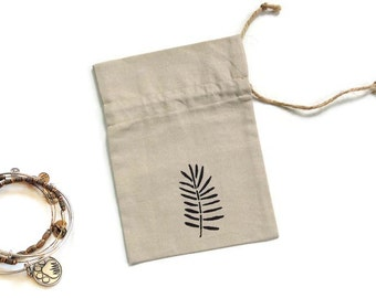 Linen gift bag, 5 x 7 inches drawstring pouch, hand stenciled fern, bridal shower favor bag,  jewelry travel pouch, ecofriendly small bag