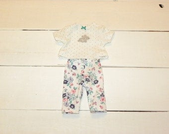 Polka Dot Tshirt and Flowered Knit Pants - 12 inch doll clothes