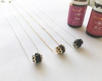 Lava bead essential oil diffuser necklace