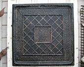 Vintage Tin Ceiling Tile. 2'x2' ANTIQUE Architectural salvage. Vintage Magnet board. Distressed paint. Office decor. Message board.