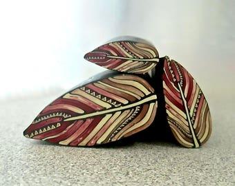 Feather Cane, Polymer Clay Cane, Raw Millefiori Cane, Handmade Cane, Craft Supply, Art Cane, Woodland Crafts, Jewelry Crafts