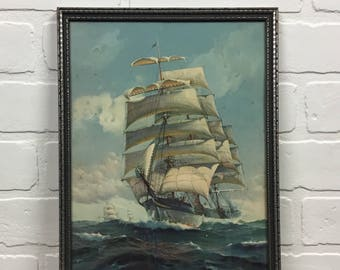 Vintage Clipper Ship Print Framed with Glass