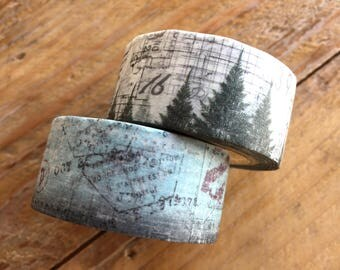 New - Vintage Style Japanese Masking Tapes - Conifer Note & Vintage Script 20mm wide for journaling, collage, packaging, card making