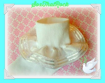 Ailes D'anges white sweet & elegant girls ruffle socks - for weddings, flower girl, First Communion, baptism, Christening, birthday,holiay