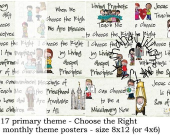 2017 LDS primary monthly themes - 8x12 sizes