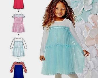 Little Girls' Dress Pattern, Girls' A-Line Dress Pattern, Girls' Tulle Dress Pattern, Sz 3 to 8, Simplicity Sewing Pattern 1209