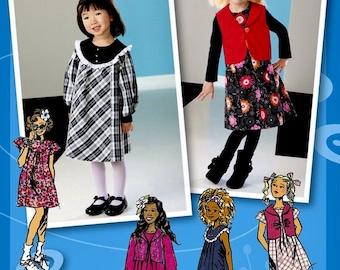 Little Girls' Yoked Dress Pattern, Project Runway Girls' Dress Pattern, Little Girls' Jumper Pattern, Simplicity Sewing Pattern 2157