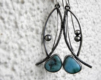 Raw Sterling Silver Larimar Earrings Statement Earrings Textured Oxidized Art Jewelry Summer Beach Urban Modern Unique Handcrafted OOAK