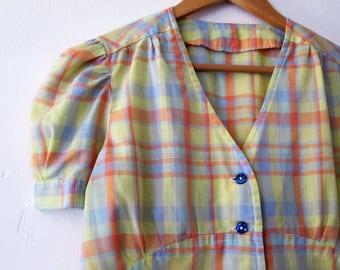Vintage Plaid Blouse / Pastel Plaid Blouse / Cotton Blouse / Womens Plaid Blouse / Summer Top