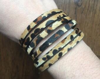 Leather Bracelet - Leopard Print Bracelet - Cuff Bracelet - Multistrand Bracelet