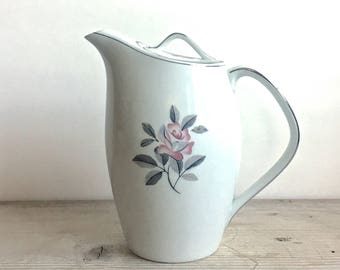 "Noritake Rosales Coffee Pot Handled lid 7 1/2"" Scarce White Pink Rose Silver Trim Mid Century"