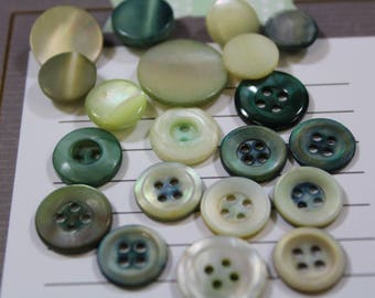 Green Mother of Pearl Buttons 20 Dyed Green MOP Button