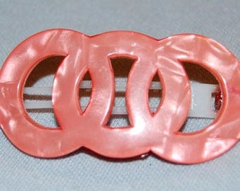 Swiss Barrette / Pink / Hair Clip / Vintage / Pink / Collectible / old jewelry