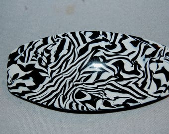 Barrette Hair Clip, France Hair Clip, Animal Print French,  Marble White Black, Vintage old jewelry