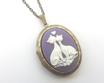 Purple Love Cats Locket, Cat Locket, Cat Cameo Locket Necklace, Loving Cats, Valentine, Antique Bronze or Gunmetal, Black, Purple or Pink