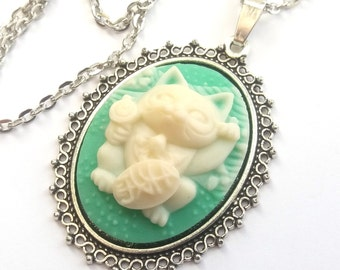 Lucky Cat Necklace, Maneki Neko Necklace, Green and Cream Cat Cameo Necklace, Japanese Lucky Cat, Good Luck, Prosperity, Silver or Bronze