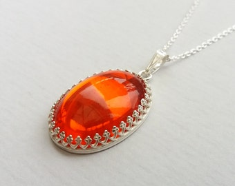 Sterling Silver Scarlet Red Jewel Necklace, Blood Orange Vintage Czech Glass, Also in Gold and Rose Gold Filled