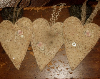 Sweet Vintage Lace Embellished Heart Ornament Set of 3 (small) Set A