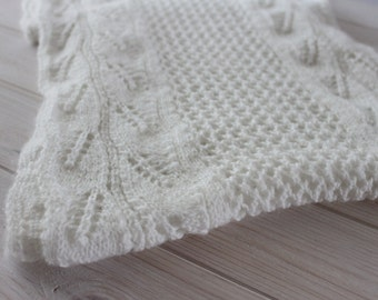 White knitted shawl,  hand knitted shawl, white scarf, warm shawl, rectangle shawl, hand knitted long shawl, bridal shawl ready to ship