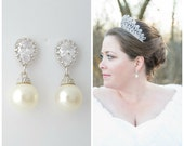 Pearl Bridal Earrings, Clip On, Bridal Jewelry, Crystal Wedding Earrings, Pearl CZ Earrings, Swarovski Pearls, Wedding Jewelry, Ava