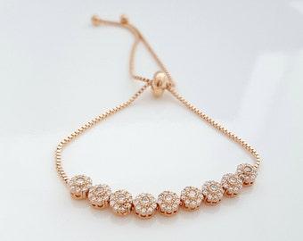 Rose Gold Bridal Bracelet, Bangle Bracelet, Wedding Jewelry, Gold, Crystal Bridal Bracelet, Adjustable Slide Bracelet, Daisy Bracelet
