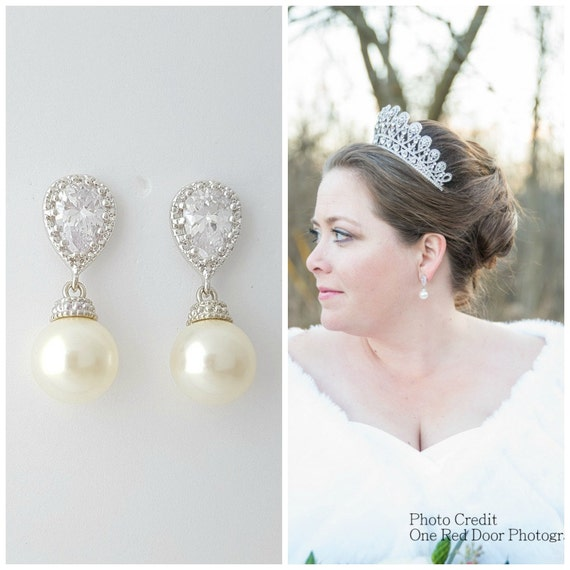 Pearl Bridal Earrings Bridal Jewelry Crystal Wedding Earrings Pearl Cubic Zirconia Earrings Teardrop Swarovski Wedding Jewelry, Ava