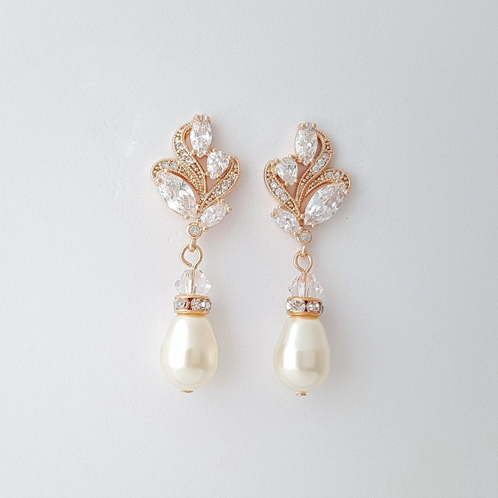 rose gold wedding earrings pearl bridal jewelry cubic zirconia. Black Bedroom Furniture Sets. Home Design Ideas