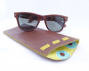 Leather Sunglass Case / Eyeglass Leather Pouch / Brown Eyewear Case / Brown and Lime Green Leather
