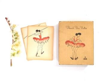 vintage 40s 50s pink ballerina card gift box notecard age worn in unused gibson kuehn litho drawing tutu naughty adult kitsch her girlfriend