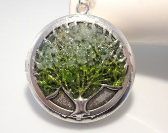 Green Stained Glass Tree Locket, Custom Color Lockets, Antiqued Silver Tree Necklace, Peridot Orange Yellow Tree of Life, Mothers Day Gift
