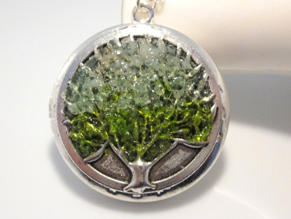 Green Stained Glass Tree Locket with Custom Colors