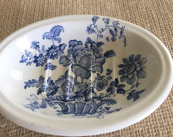 Charlotte Royal Crownsford  Blue and White Ironstone Vintage Soap Dish Made in England Mid Century Shabby Chic Decor