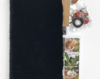 Sewing teddy bear KIT, BLACK fabric, set of bear making supplies, fabric for making teddy, glass eyes, ultra suede, threads, disc joint