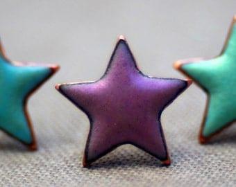 Enamel star studs