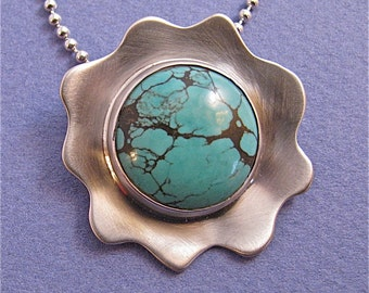 Turquoise cab sterling silver pendant necklace