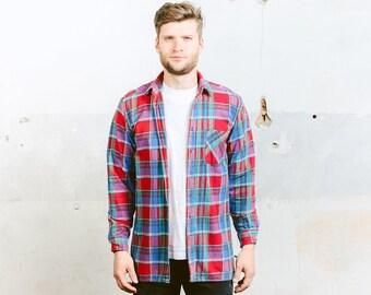 Plaid Flannel Shirt . Mens Vintage 90s Grunge Shirt Check Print Button Down Lumberjack Jacket . size Medium M