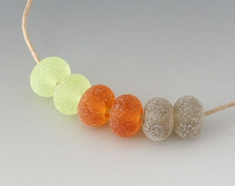 Rustic Gems- (6) Handmade Lampwork Beads - Amber, Green, Topaz