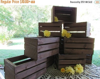 SALE Wooden Crates centerpieces Rustic Wedding reception flower planter box vases barn country diy decorations cottage chic shabby