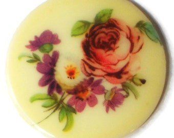 Vintage Cabochon floral Bouquet Flowers Limoges Style 35mm Cab NOS Glass. #1388