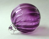 Hand Blown Glass Christmas Ornament Purple Swirl Rib Pattern Round One