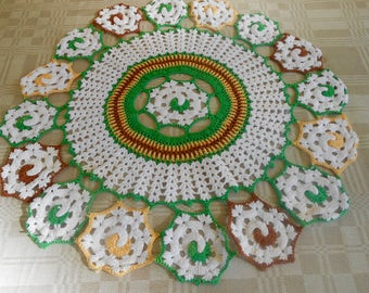 "Handmade Crochet Doily Sunny Colors Unique Small Table 20"" Round"