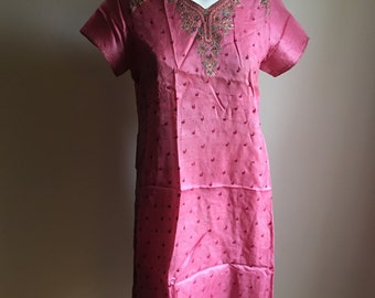 Raspberry Pink Indian Silk Embroidered Top • Indian Embroidered Tunic • Bohemian Rare  Tunic