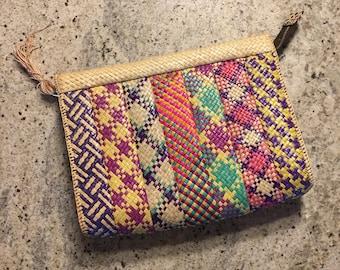 50s 60s Colorful Woven Clutch • Woven Bag • Vegan Purse